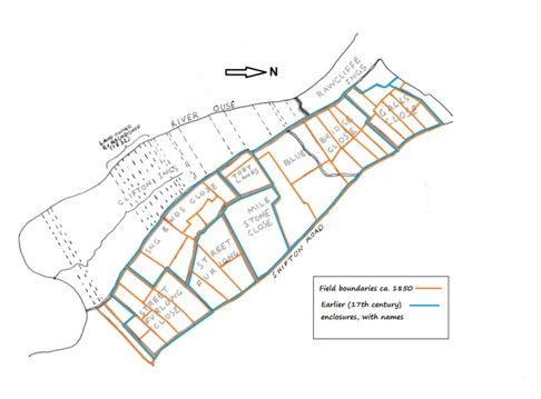 Changing layout of fields between Clifton Ings and Shipton Road, early 1600s to 1840s