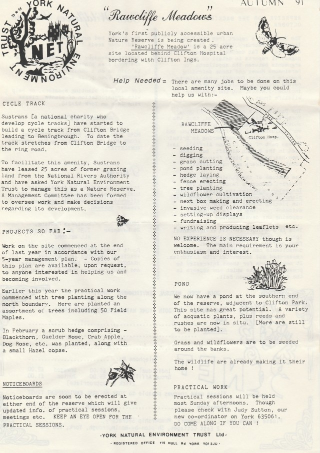 Rawcliffe Meadows Autumn 1991 Newsletter